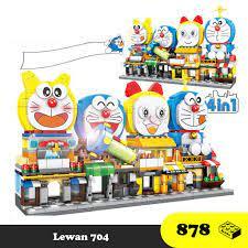 Xếp hình Doremon - Đồ chơi bé gái - Combo 4 ngôi nhà Doraemon, Doremi