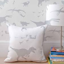 Silver Wallpaper Bedroom Dya Think E Saurus White Silver Childrens Dinosaur Fabric And