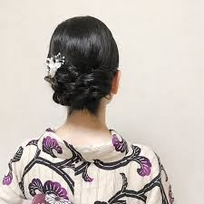 ミディアム 浴衣ヘア 結婚式 黒髪福岡天神ヘアセット着付け専門店
