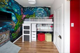 white gray solid wood office. Baby Nursery Cartoon Painting Wall Accent Design Idea White Wooden Laminate Bunk Bed Round Gray Solid Wood Office V