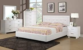 Amazon.com: White Faux Leather Solid Pine 4pc Bedroom Furniture Set ...
