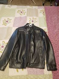 ea collection black leather jacket for men never used
