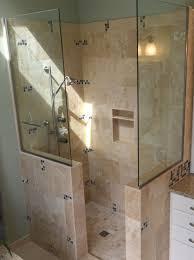 Bathroom, Doorless Shower Design Glass Shower Cabin Partition Walls Ceramic  Flooring Tile White Small Real