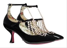 gucci moire t strap leather with pearls pumps