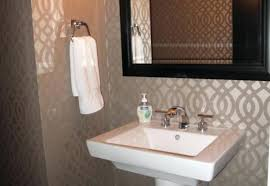 guest bathroom wall decor. Wall Decor For Bathroom Ideas Guest With  Grey Patterned Wallpaper And .