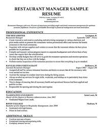 Restaurant Manager Resume Sample Flexible Depiction Example With