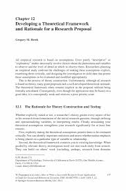 Developing a Theoretical Framework and Rationale for a Research ...