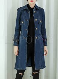 street belt metal on denim trench coat