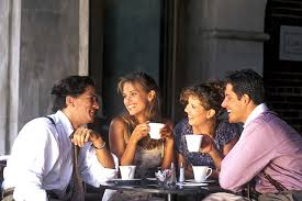 drinking coffee with friends. Contemporary Friends Friends Drinking Coffee At An Outside Cafe With O