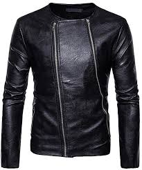 images gallery fashion diagonal double zipper o neck pu faux leather jacket for men