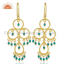 18k yellow gold plated sterling silver turquoise beads chandelier earrings