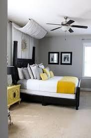Plain Design Grey Yellow Bedroom Grey And Room