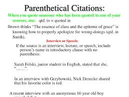 Parenthetical Citations Mla Speech