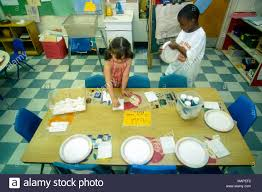 preschool lunch table. Grammar, Elementary And Preschool Students Prepare For Eat Lunch In School. - Stock Table E