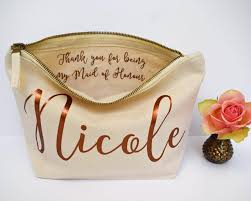 wedding thank you gift personalised bridesmaid gift make up bag maid of honour gift unique gift for bridal party makeup cosmetic bags