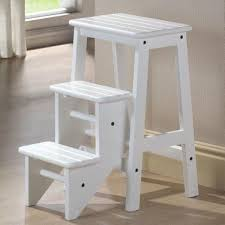 white wooden folding step stool seat 3 tier platform ladder kitchen office home