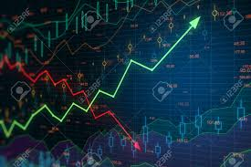 Chart Screen Business Chart Screen With Green Arrow Going Up Red Arrow Going