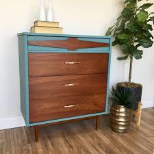 vintage 60s furniture. Teal Dresser - Mid Century Modern Vintage Chest Of Drawers Painted Furniture Bedroom 60s 4 Drawer MCM R