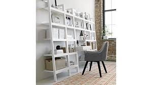 image of white leaning bookcase ikea