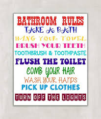 bathroom rules for kids. Wonderful Rules Bathroom Rules Kids Decor Wall Art 8X10 Print  UNFRAMED With For S