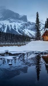 1080x1920 house lake reflection snow mountain trees
