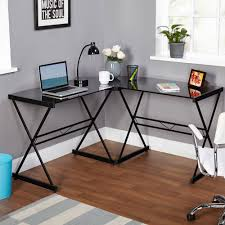 ... Alluring Corner Writing Desks Glass Table Top Metal Base Material X  Shape Contemporary Style Black Color ...