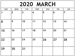 Month Of March Calendar 2020 Free March 2020 Calendar Printable Template With Holidays
