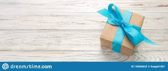 Beautiful Gift Box Design Beautiful Gift Box With A Blue Bow On The White Wooden Table