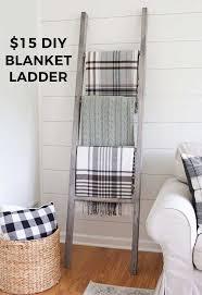easy diy blanket ladder design of living room blanket storage