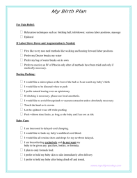 How To Write A Birth Plan Examples Birth Plan Archives My Silly Monkey