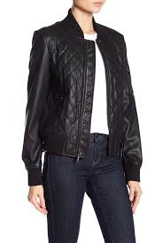 image of french connection diamond quilted faux leather jacket