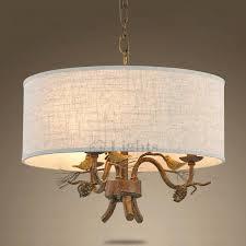 chandeliers chandelier 3 light rustic drum shade bird decoration madley cream