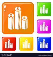 Coin Money Chart Icons Set Color