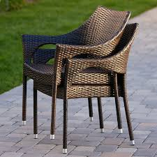 Amazoncom Del Mar Outdoor Wicker Stacking Chairs Set of 2