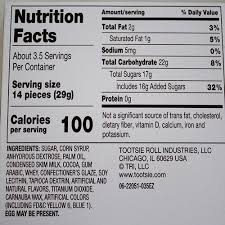 tootsie chocolate bites nutrition