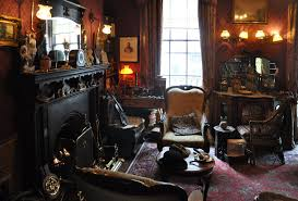 sherlock holmes cluttered room fireplace three armchairs and a violin