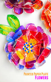 hyper colorful painted paper plate flowers
