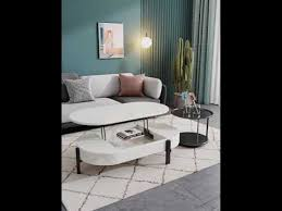 modern white black oval coffee table