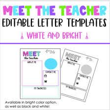 Meet The Teacher Letter Templates Meet The Teacher Letter Template White And Bright
