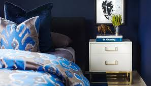 gray and blue bedroom ideas ikat duvet navy velvet headboard