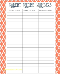 Free Printable Phone Number List Template Sample My Contact ...