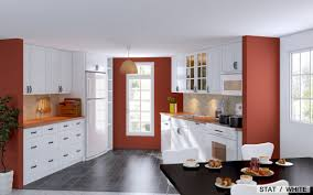 Kitchen Cabinets Red And White Kitchen Design Ikea With Modern Cabinetry And Island Also In