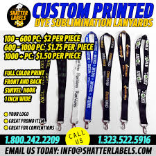 Custom Dye Sublimination Lanyards Full Color Print Front And