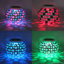 2018 solar powered mosaic glass ball garden lights color changing solar lawn courtyard light waterproof automatic operation solar outdoor lights from
