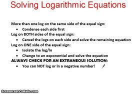 imc unit 5 solving logarithmic equations