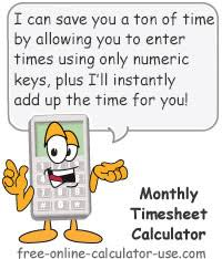 Timecard Calculation Monthly Timesheet Calculator With Overtime Calculation Printable