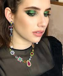 gorgeous emmaroberts with a bejewelled eye tonight loved doing this intense emerald look wearing the most divine vine dress