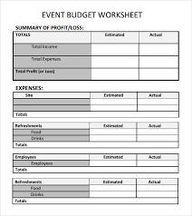 Event Budget Sample Event Budget Worksheet Template Event Budget Template