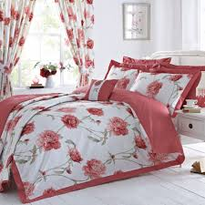 duvet cover red flower and curtains