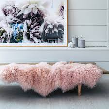 mongolian sheepskin throw rug blush